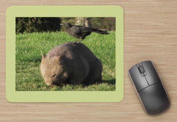 wombat and bird mousepad
